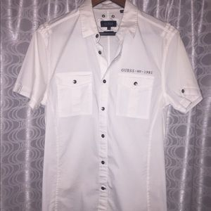 Guess white button down shirt size Small